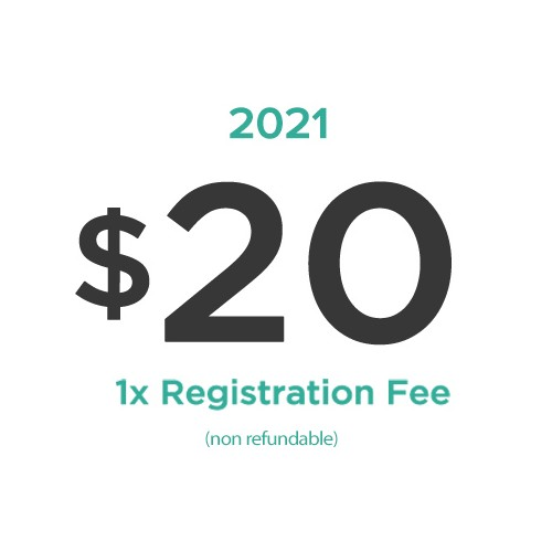 $20  One Time Registration Fee for 2021