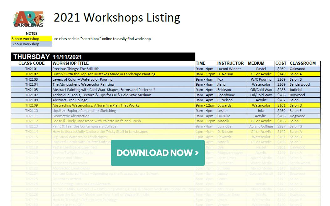 workshops listing for 2021